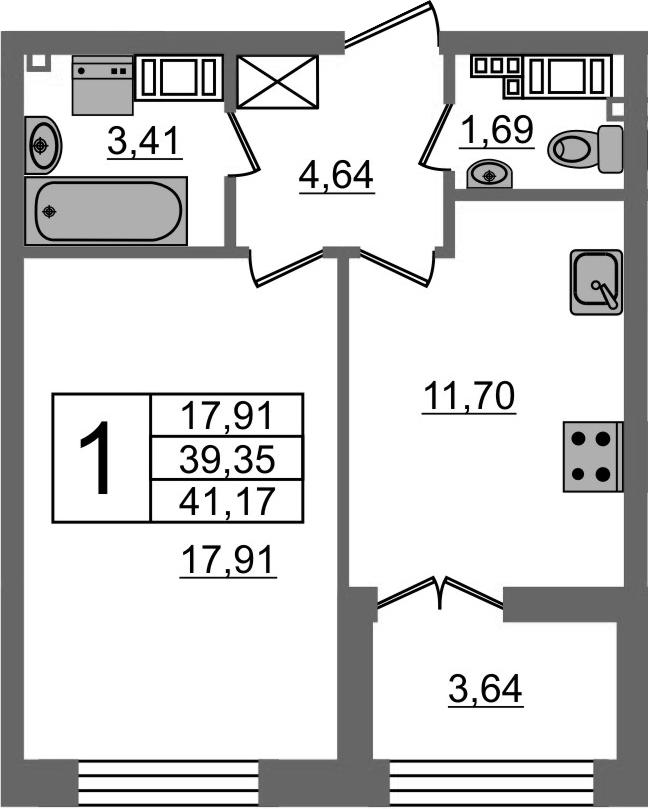 1-к.кв, 39.35 м²