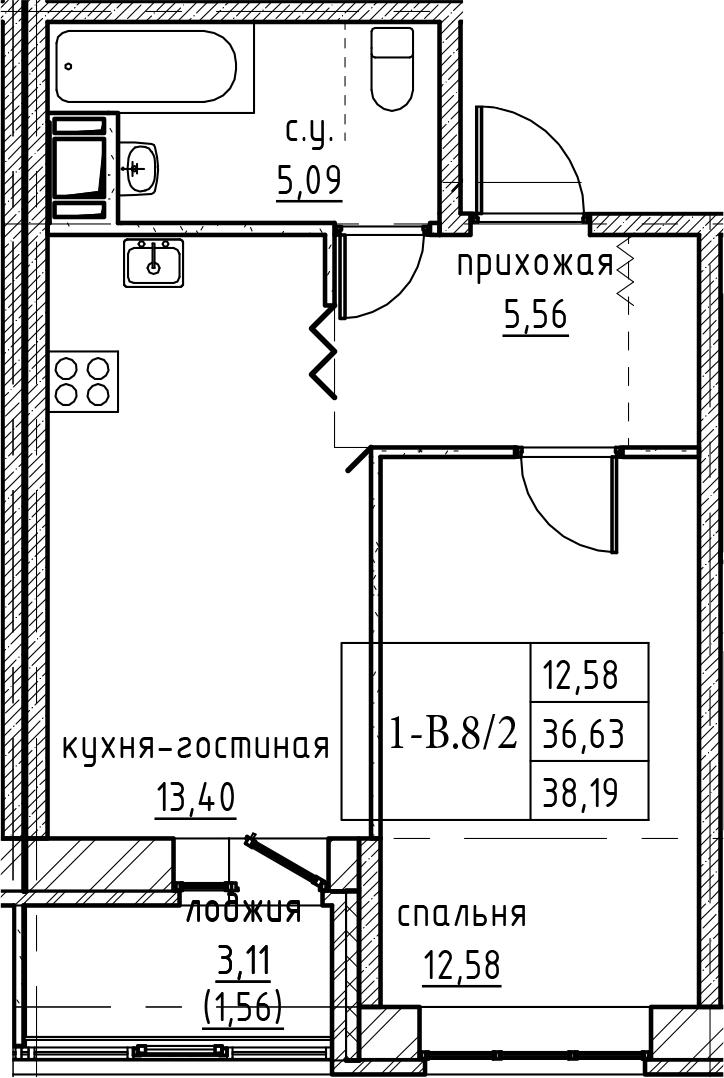 2Е-к.кв, 38.19 м²