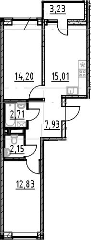 2-к.кв, 54.83 м², от 3 этажа