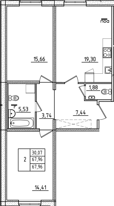 3Е-комнатная, 67.96 м²– 2