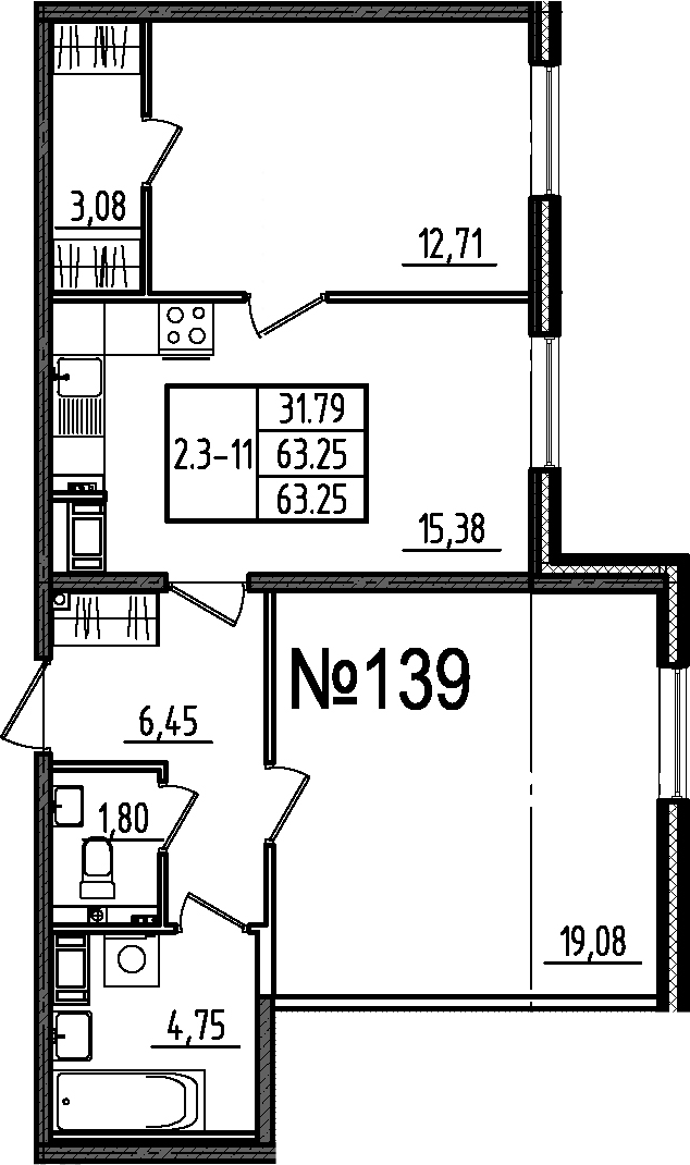 3Е-к.кв, 63.25 м², 1 этаж