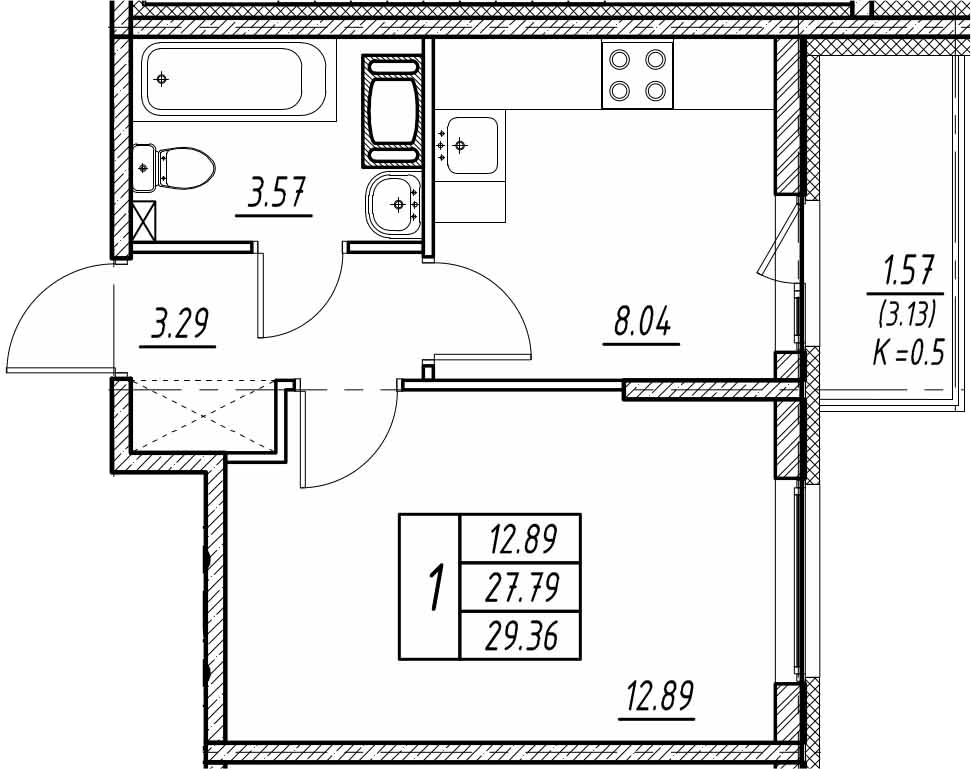 1-к.кв, 30.92 м²