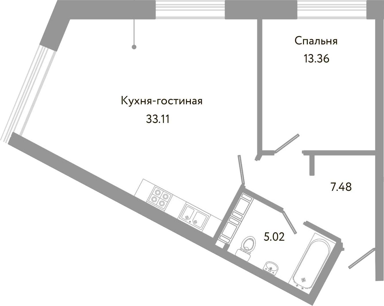 2-к.кв (евро), 58.97 м²