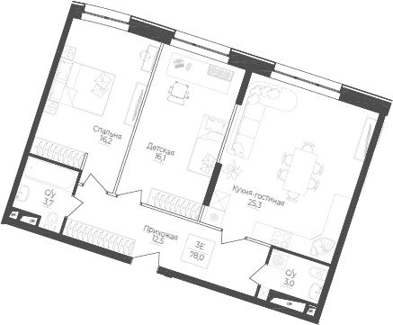 3Е-к.кв, 78 м²