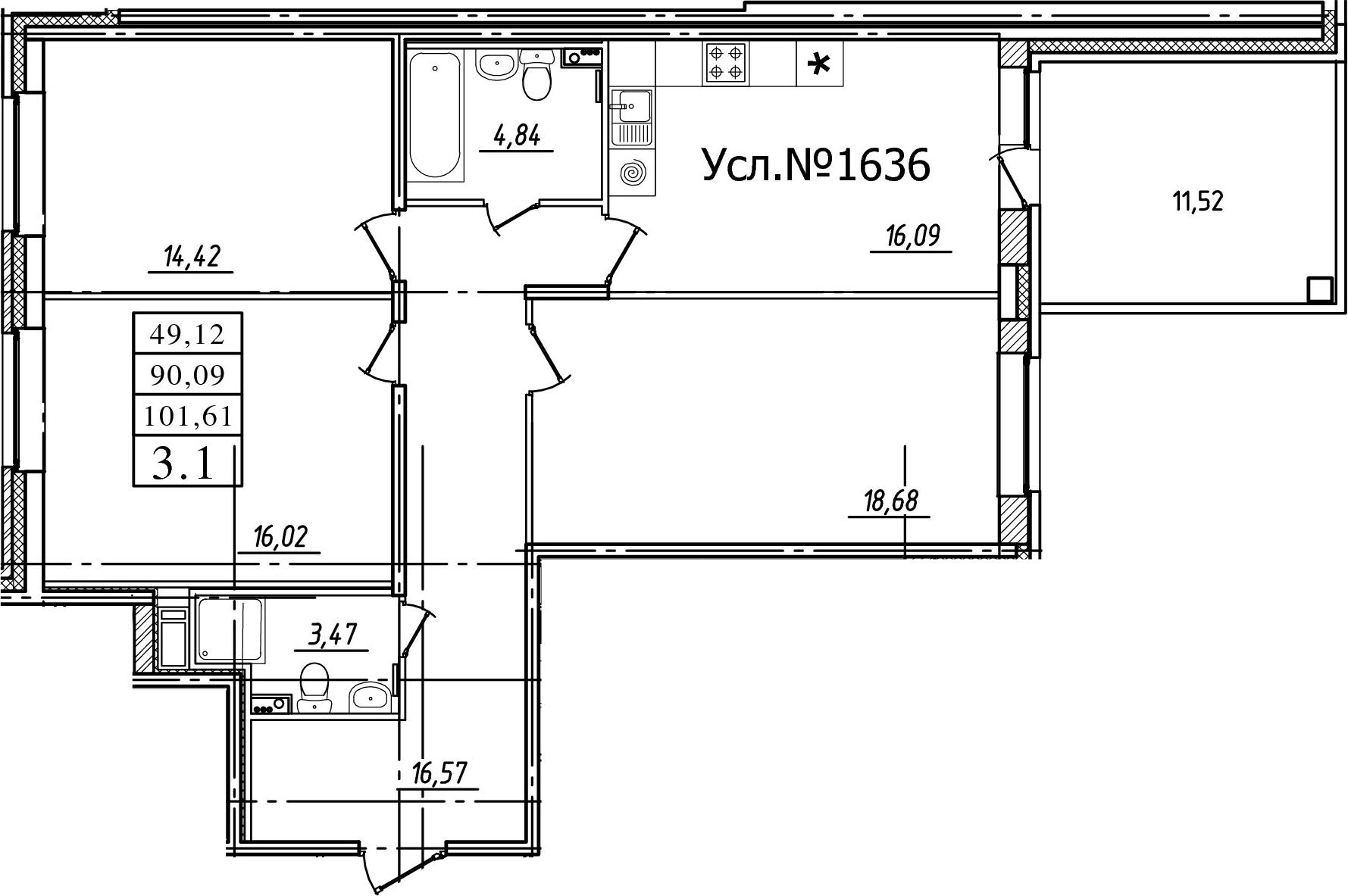 3-к.кв, 90.09 м²