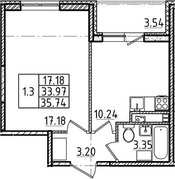 1-комнатная, 33.97 м²– 2