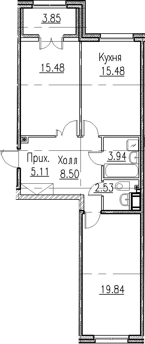 3-к.кв (евро), 74.73 м²