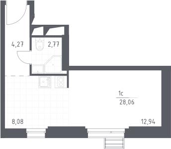Студия, 28.06 м²– 2