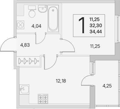 2Е-к.кв, 32.3 м², 1 этаж