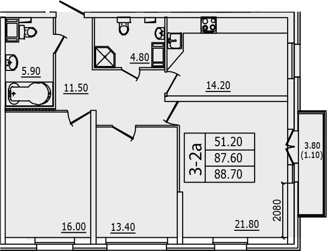 3-к.кв, 88.7 м², от 3 этажа