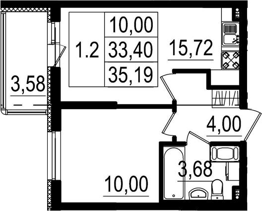 2Е-к.кв, 33.4 м², 2 этаж