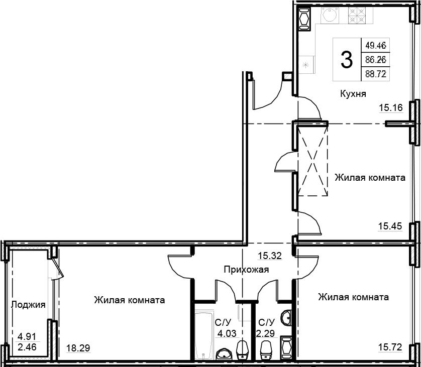 3-к.кв, 88.72 м², 14 этаж