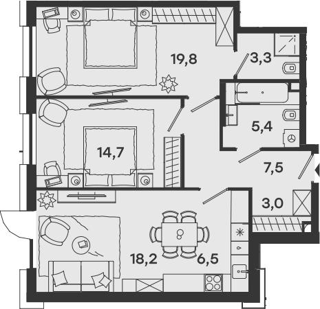 3-к.кв (евро), 78.4 м²