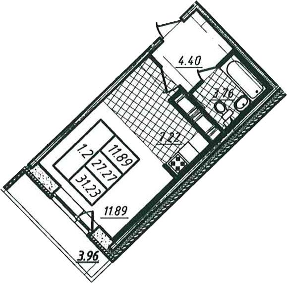Студия, 27.27 м²