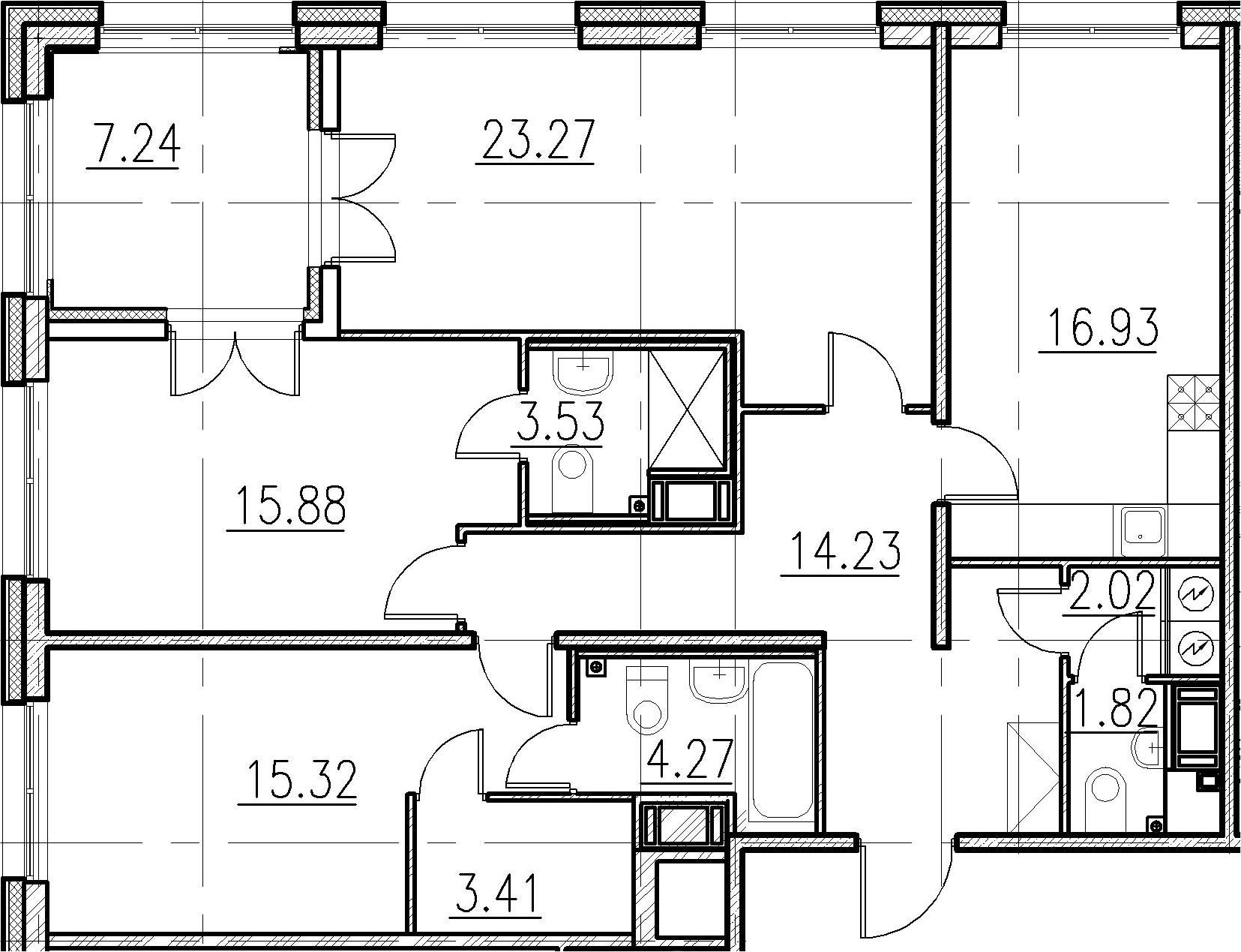 3-к.кв, 100.68 м²