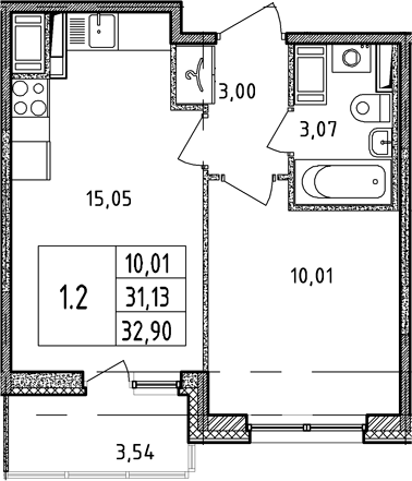 2Е-к.кв, 31.13 м²