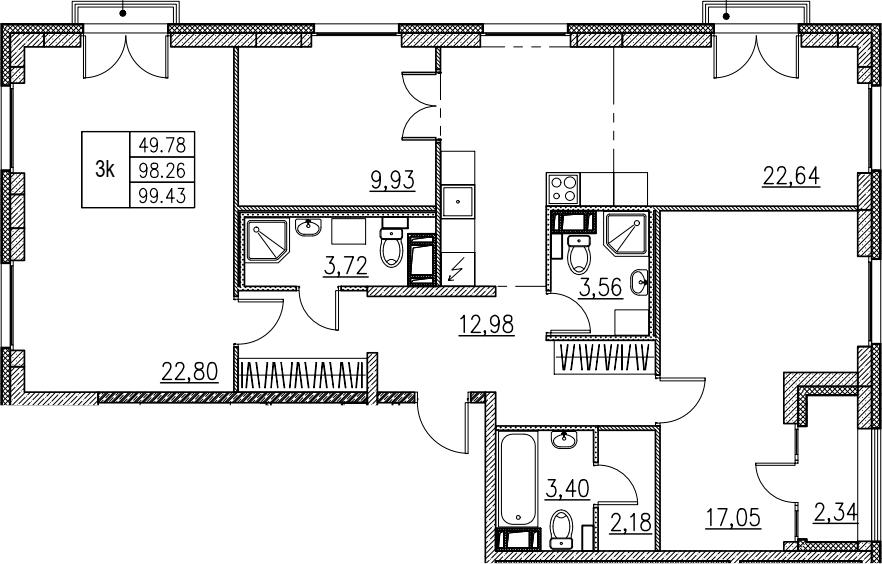 4Е-комнатная, 99.43 м²– 2