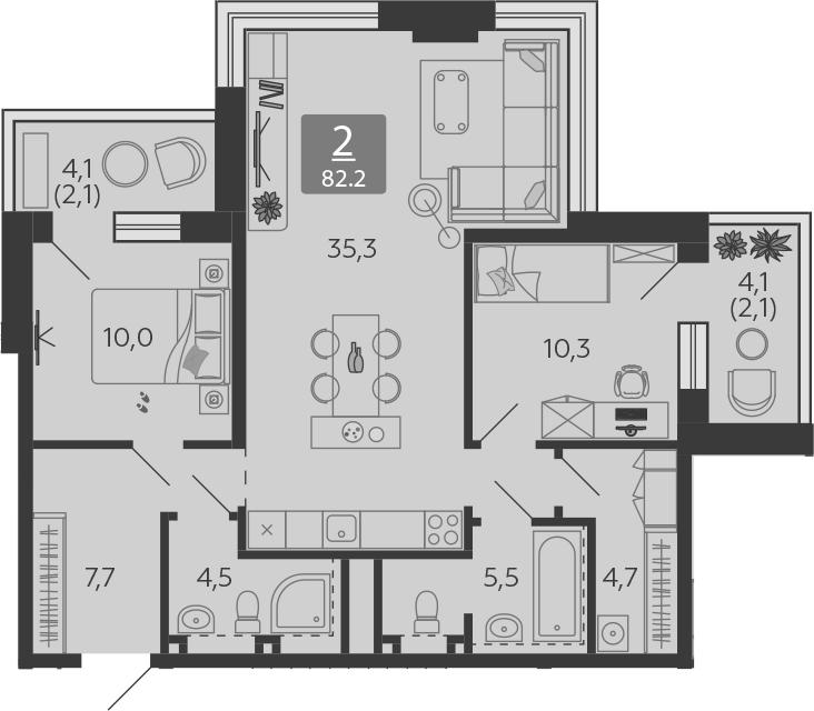 3Е-комнатная, 82.2 м²– 2