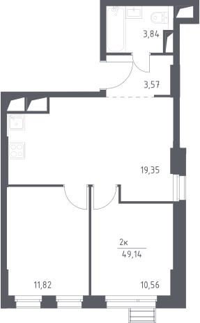 3Е-комнатная, 49.14 м²– 2