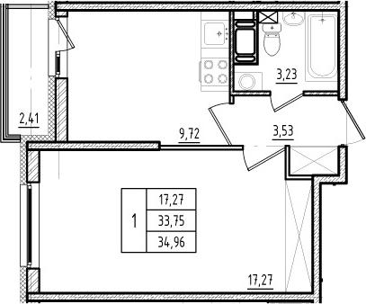 1-комнатная, 33.75 м²– 2
