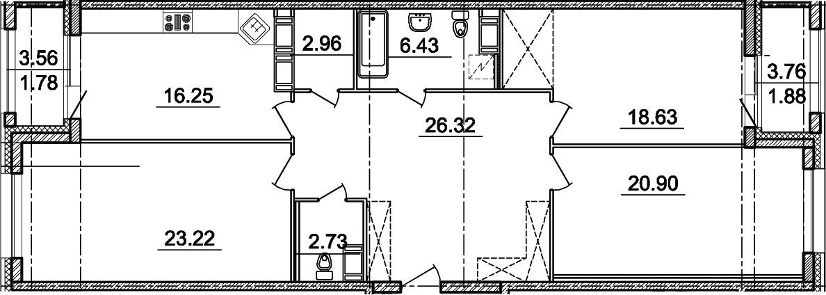 3-комнатная, 117.44 м²– 2