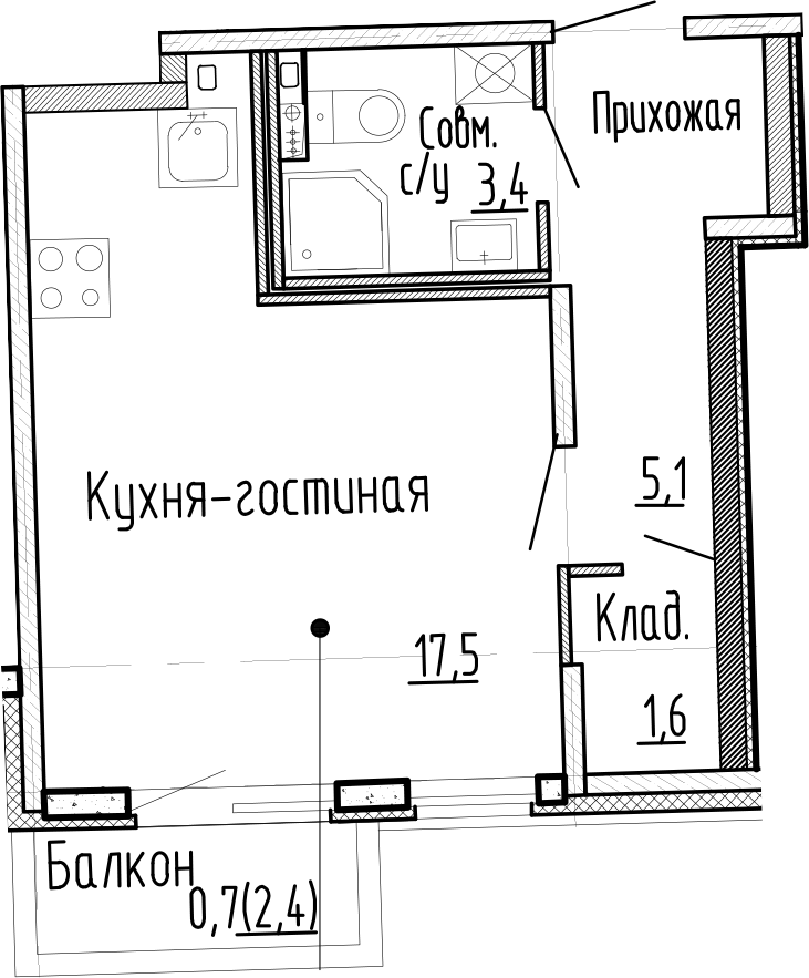 Студия, 27.6 м², 1 этаж – Планировка