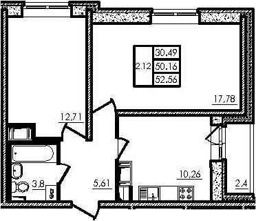 2-к.кв, 50.16 м²