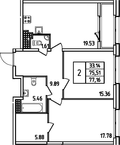 3Е-комнатная, 77.16 м²– 2