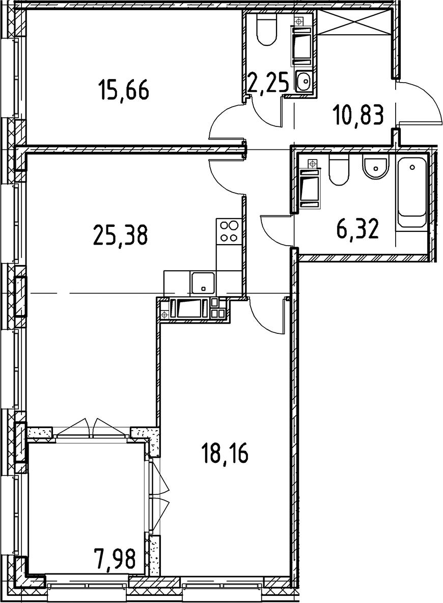 3Е-к.кв, 78.6 м², 3 этаж