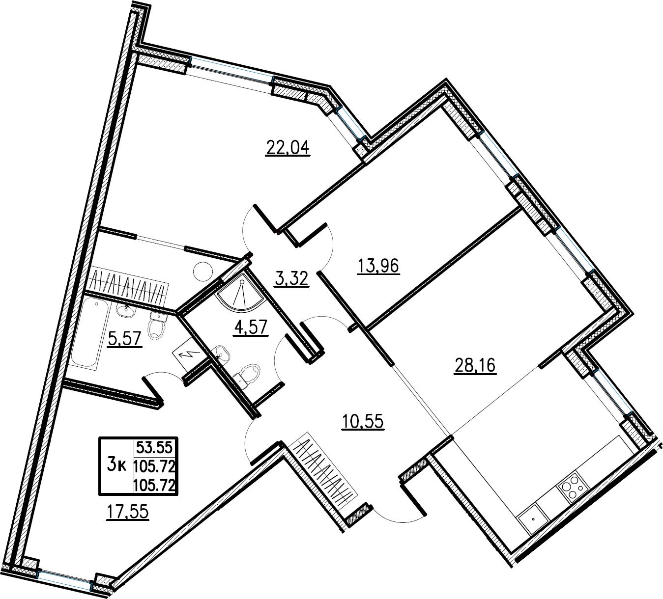 4Е-комнатная, 105.72 м²– 2