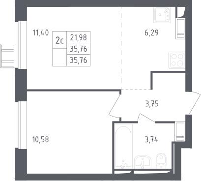 2Е-комнатная, 35.76 м²– 2