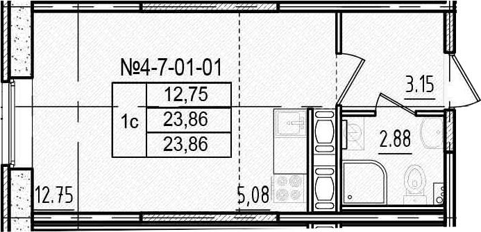 Студия, 23.86 м²