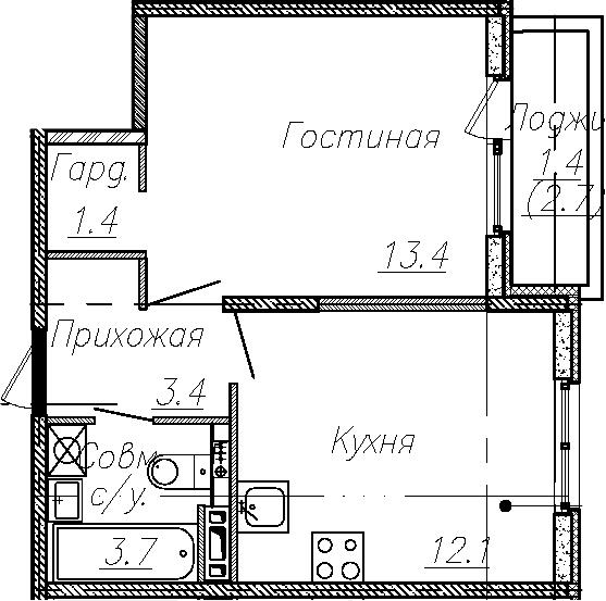 1-к.кв, 34 м², 4 этаж