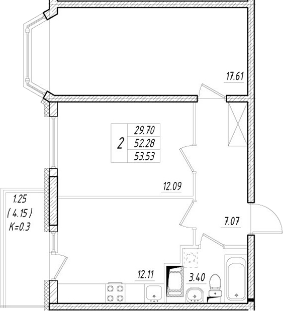 2-к.кв, 56.43 м²