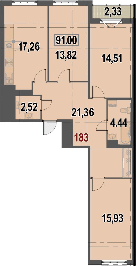 4Е-комнатная, 91 м²– 2