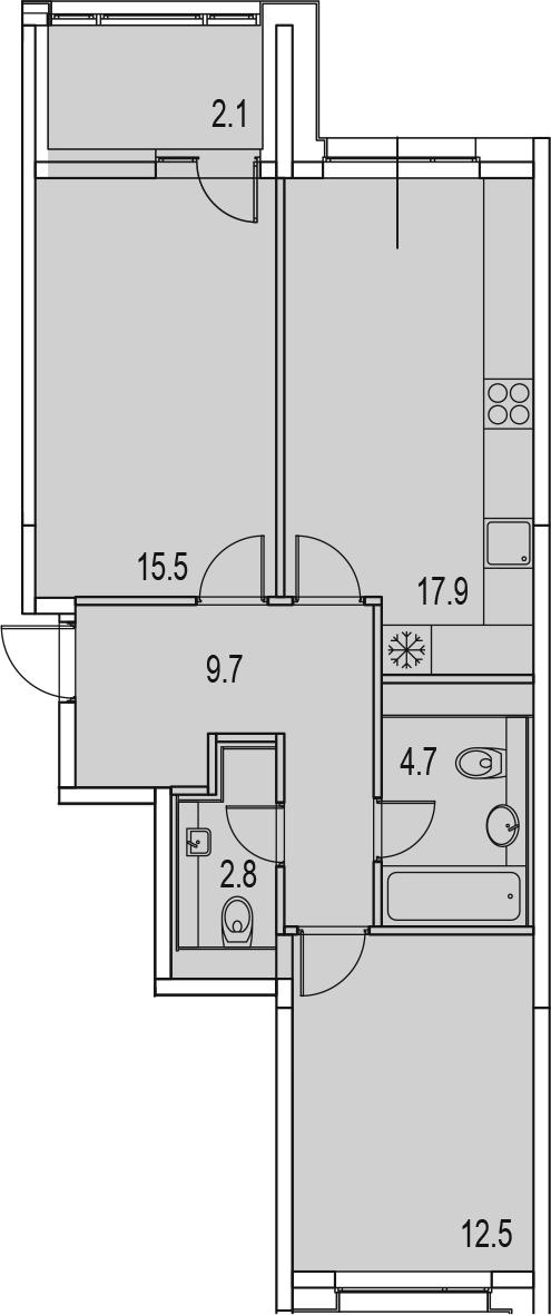 3Е-к.кв, 65.2 м²