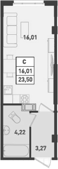 Студия, 23.5 м², от 12 этажа