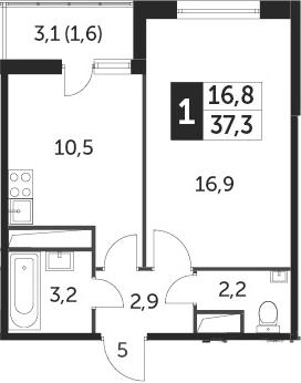 1-к.кв, 37.3 м², 21 этаж