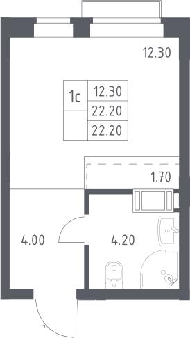 Студия, 22.2 м², 11 этаж