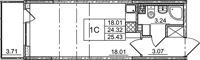Студия, 25.43 м²