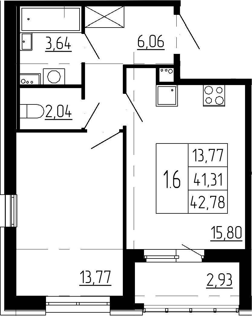 2Е-комнатная, 41.31 м²– 2