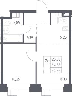 2Е-к.кв, 34.55 м², 14 этаж
