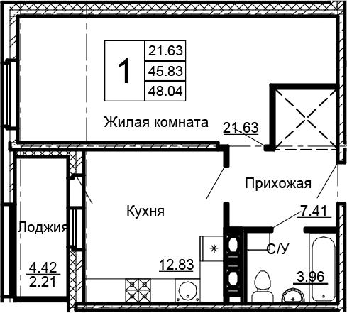1-комнатная, 48.04 м²– 2
