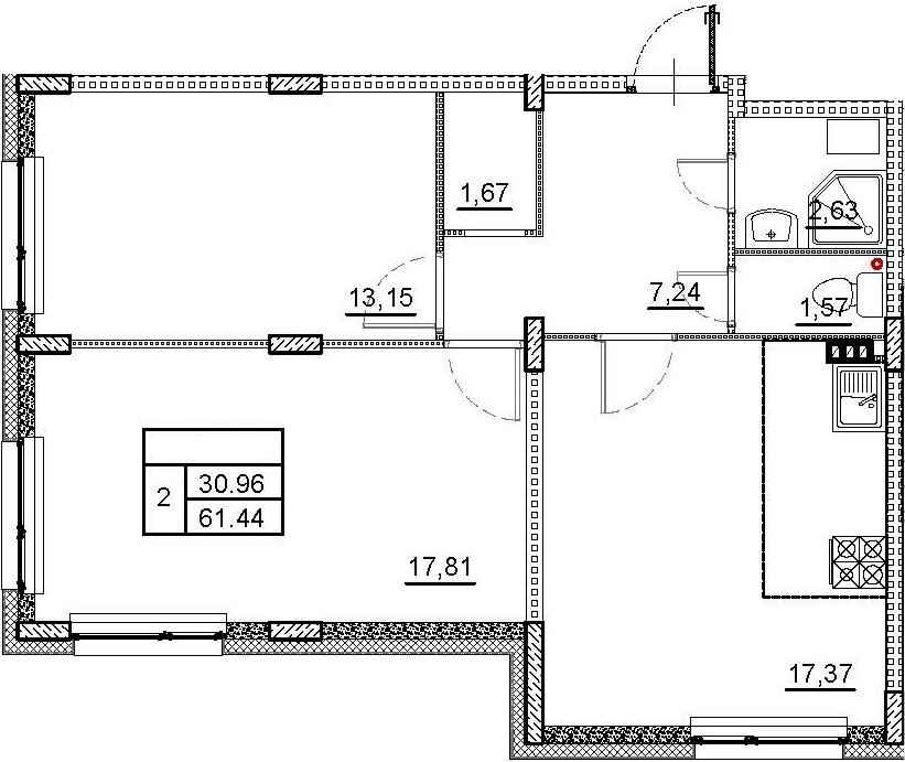 3Е-к.кв, 61.44 м²