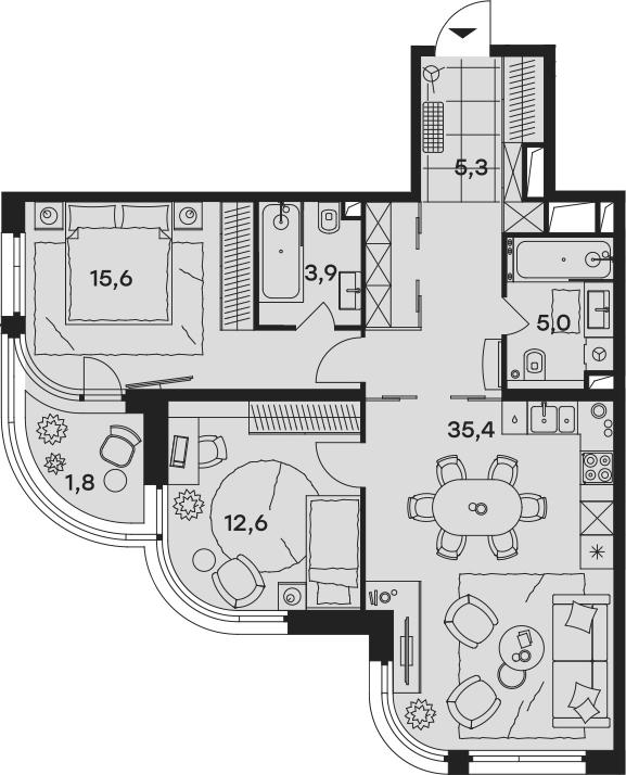 3Е-к.кв, 79.6 м², 3 этаж
