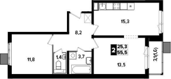 2-к.кв, 55.5 м², от 8 этажа