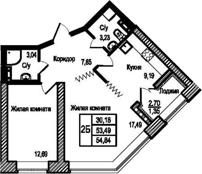 2-комнатная, 54.84 м²– 2