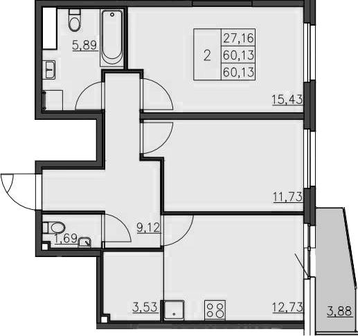3-к.кв (евро), 64.38 м²