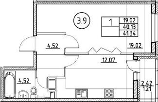 1-к.кв, 41.34 м²