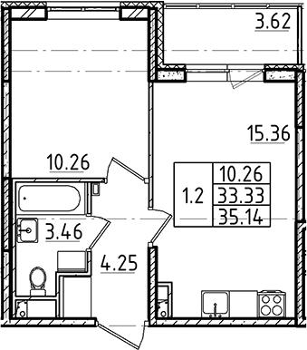 2Е-к.кв, 35.14 м²